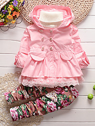 Girl's Cotton Spring/Autumn Fashion Patchwork Floral Print Long Sleeve Jacket Trench Coat And Pants Two-piece Set