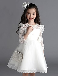 A-line Knee-length Flower Girl Dress - Lace Long Sleeve Jewel with Buttons