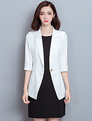 Women's Plus Size / Going out Street chic Fall / Winter Blazer,Solid Peaked Lapel Long Sleeve White /