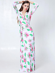 Women's Beach Boho Trumpet/Mermaid Dress,Floral V Neck Maxi Long Sleeve White Acrylic Fall