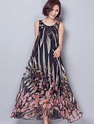 Mulheres Solto / Swing Vestido,Casual / Tamanhos Grandes Vintage Floral Decote Redondo Longo Sem Manga Rosa / Preto / Cinza / Verde