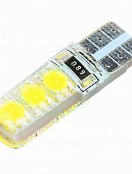 10pcs t10 5050 lâmpada 6smd decorativas / luz de leitura / luz placa de licença lâmpada / porta DC12V branco