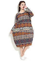 HANBELLE Women's Round Neck Long Sleeve Tea-length Dress-871#