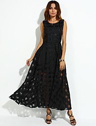 Women's Party Vintage A Line Dress,Check U Neck Maxi Sleeveless Summer Mid Rise Inelastic Thin