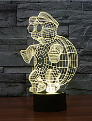 черепаха касания затемнением 3D LED ночь свет 7colorful украшения атмосфера новизны светильника освещения свет рождества