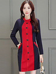 Women's Going out /  Work Cute Bodycon Dress,Patchwork Round Neck Above Knee Long Sleeve Blue / Red / Multi-color Cotton