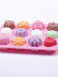 12 Holes Flowers And Plants Silicone Cake Mould Pudding Jelly Ice Mold Handmade Soap Mold