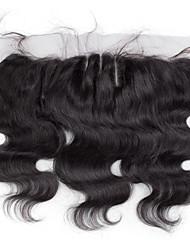 10inch to 20inch Черный Изготовлено вручную Естественные кудри Человеческие волосы закрытие Умеренно-коричневый Швейцарское кружевоabout