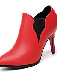 Women's Shoes Leatherette Fall Heels Heels Wedding / Office & Career / Dress Stiletto Heel Others Black / Red