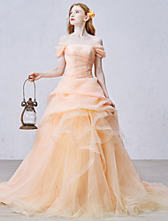 Formal Evening Dress Ball Gown Off-the-shoulder Chapel Train Organza / Tulle with Ruffles / Side Draping