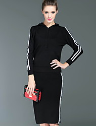 I-YECHO  Formal Simple Spring / Summer Set Skirt,Solid Hooded Long Sleeve Red / Black Cotton / Polyester / Spandex