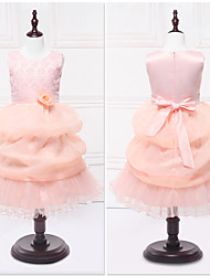 Ball Gown Tea-length Flower Girl Dress - Organza Satin Jewel with Lace