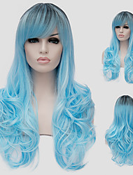 Water blue micro volume long hair and the wind nightclub performances Street color million with a partial wig.