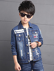 Boy's Cotton Spring/Autumn Fashion Print Patchwork Cowboy Outerwear Long Sleeve Sport Denim Jacket Coat