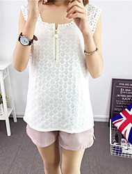 Women's Casual/Daily Street chic Summer Tank Top,Solid Round Neck Sleeveless White / Black Cotton Medium