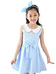 Robe Fille de Points Polka Sortie Coton Eté Bleu / Rose