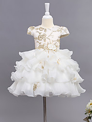 Ball Gown Tea-length Flower Girl Dress - Cotton Organza Satin Jewel with Bow(s) Flower(s)