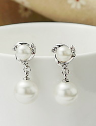 Drop Earrings Silver Pearl Sterling Silver Fashion Round White Jewelry Daily Casual 1 pair