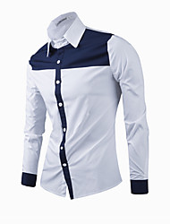 Men's Patchwork Casual / Formal Shirt,Cotton Long Sleeve Blue / White