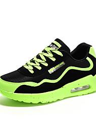 Feminino-Tênis-Conforto-Rasteiro-Verde Preto e Vermelho Preto e Branco-Tule-Casual