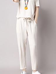 De las mujeres Pantalones Chinos-Simple Microelástico-Algodón / Lino