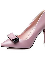 Damen High Heels PU Sommer Normal Schleife Stöckelabsatz Schwarz Silber Grau Rosa 7,5 - 9,5 cm