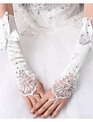 Elbow Length Fingerless Glove Elastic Satin Bridal Gloves Spring