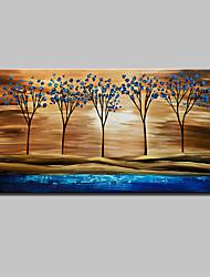 Ручная роспись Абстракция Пейзаж Абстрактные пейзажи Цветочные мотивы/ботанический Горизонтальная,Modern 1 панель ХолстHang-роспись