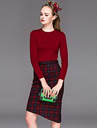Gaine Robe Aux femmes Sortie Vintage,Couleur Pleine Col Arrondi Asymétrique Manches Longues Rouge / Noir Coton Printemps