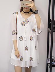 Ample Robe Maternité Décontracté / Quotidien simple,Fleur Col en V Au dessus du genou ½ Manches Blanc Autres Eté