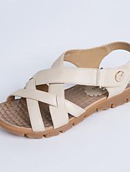Women's Summer Comfort Leather Casual Flat Heel Almond