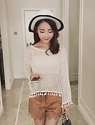 Damen Kurz Pullover-Lässig/Alltäglich Einfach Solide Rosa / Weiß / Schwarz / Gelb Rundhalsausschnitt Langarm Kunstseide Sommer Dünn