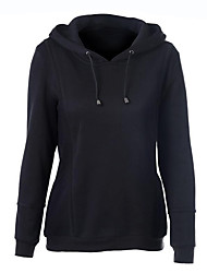 Women's Casual/Daily Street chic Regular Hoodies,Solid Black Hooded Long Sleeve Cotton Spring / Fall Medium