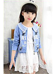 Girl's Casual/Daily Floral Jeans / Clothing Set,Cotton Winter Blue