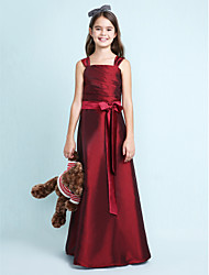 A-Line Princess Straps Floor Length Taffeta Junior Bridesmaid Dress with Bow(s) Sash / Ribbon Ruching by LAN TING BRIDE®