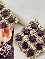 Stud Earrings Gemstone Simulated Diamond Alloy Fashion Bridal Square Purple Jewelry Daily Casual 1 pair