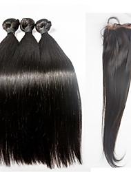 Trama do cabelo com Encerramento Cabelo Brasileiro Retas 6 meses 4 Peças tece cabelo