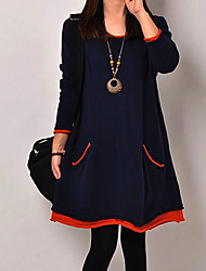 Women's Plus Size Loose Dress,Solid Round Neck Above Knee Long Sleeve Blue / Black Cotton Spring / Fall Micro-elastic