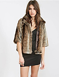 Women's Plus Size / Casual/Daily / Party/Cocktail Simple Fur Coat,Solid Stand ½ Length Sleeve Fall /