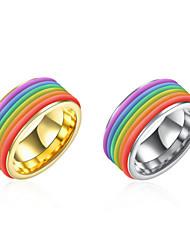 Men's 316L Titanium Steel Silver Gold Rainbow Band Ring Jewelry Friend