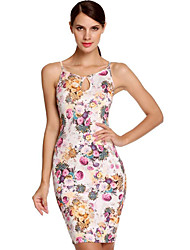 Women's Going out Sexy Bodycon Dress,Floral Strap Above Knee Sleeveless White / Black Cotton Summer