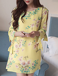 Women's Casual/Daily Simple Chiffon Dress,Floral Round Neck Above Knee ¾ Sleeve Yellow Polyester Summer