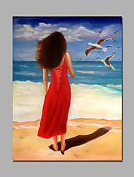 Contemporary Art Canvas Handmade Figure Red Dress Woman Besides the Sea Wall Art For Home Decor