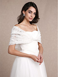 Women's Wrap Shrugs Sleeveless Lace Ivory Wedding / Party/Evening Off-the-shoulder 30cm Lace Hidden Clasp