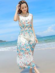 Women's Beach Boho Sheath Dress,Floral Round Neck Maxi Sleeveless White Polyester Summer