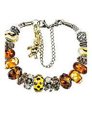 Retro Silver Gold DIY Bead Strand Charm Bracelet with Tiger Animal Pendant