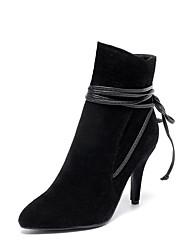 Damen-Stiefel-Kleid Lässig-Kunstleder-Kitten Heel-AbsatzSchwarz Grau