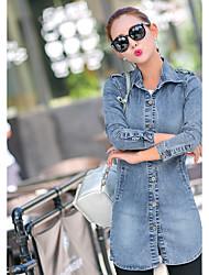 Mulheres Jaquetas Jeans Happy-Hour / Casual Simples Outono,Sólido Azul Algodão Colarinho de Camisa Manga Longa Média