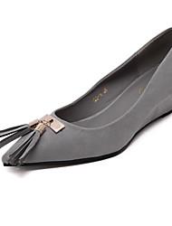 Черный / Серый-Женский-На каждый день-Полиуретан-На танкетке-На танкетке / С острым носком-Обувь на каблуках