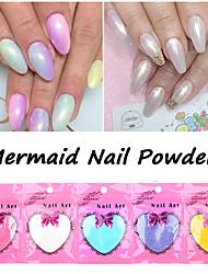 New Mermaid Effect Chrome Pigment Powder 10g / bag Laser Silver White Nail Art Miorror Powder Mermaid Decorations
